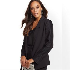 Black Lace Trim Blazer